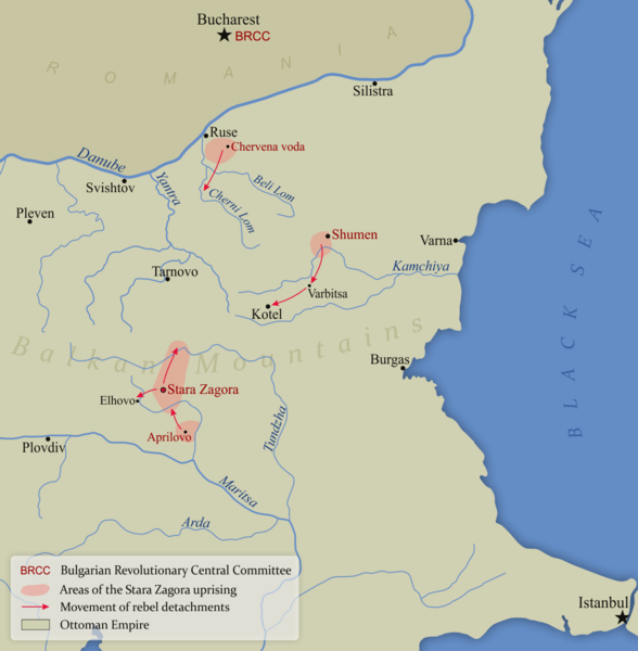 A map of the Stara Zagora Uprising