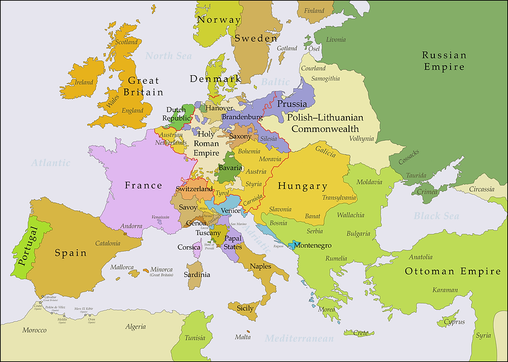 Europe from 1783-1792 after the Russian annexation of Crimea