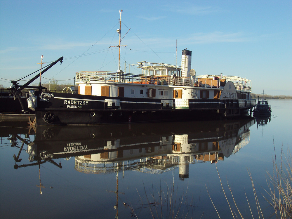 A replica of the steamship Botev and his cheta commandeered