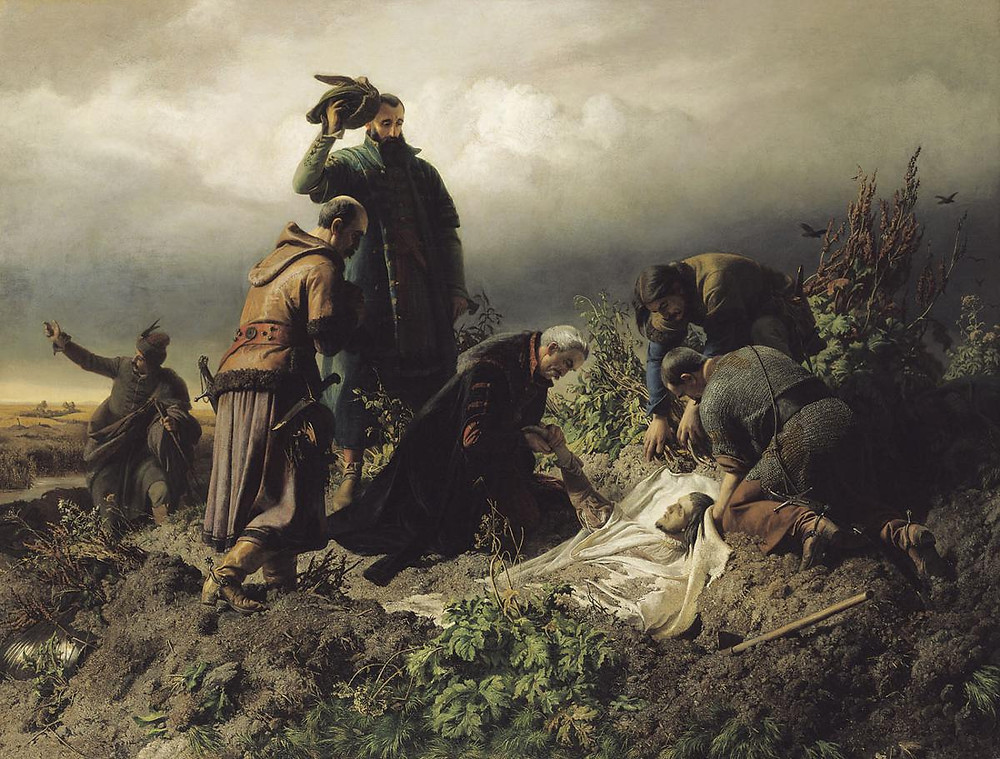 A modern painting depicting the discovery of the corpse of King Louis II of Hungary