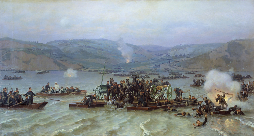 Russian forces crossing the Danube