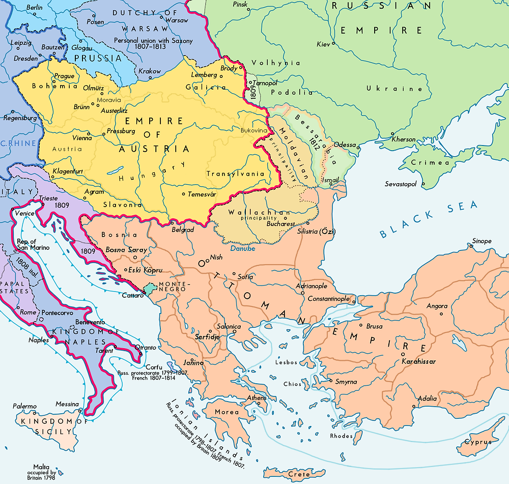 Southeastern Europe following the 1812 Treaty of Bucharest