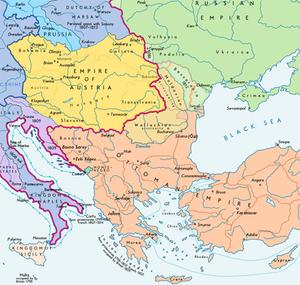 Southeastern Europe following the 1812 Treaty of Bucharest