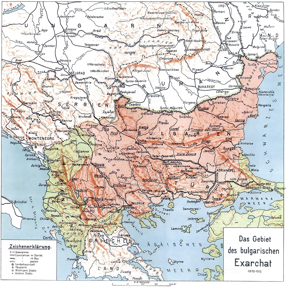 The proposed borders of the Bulgarian Exarchate
