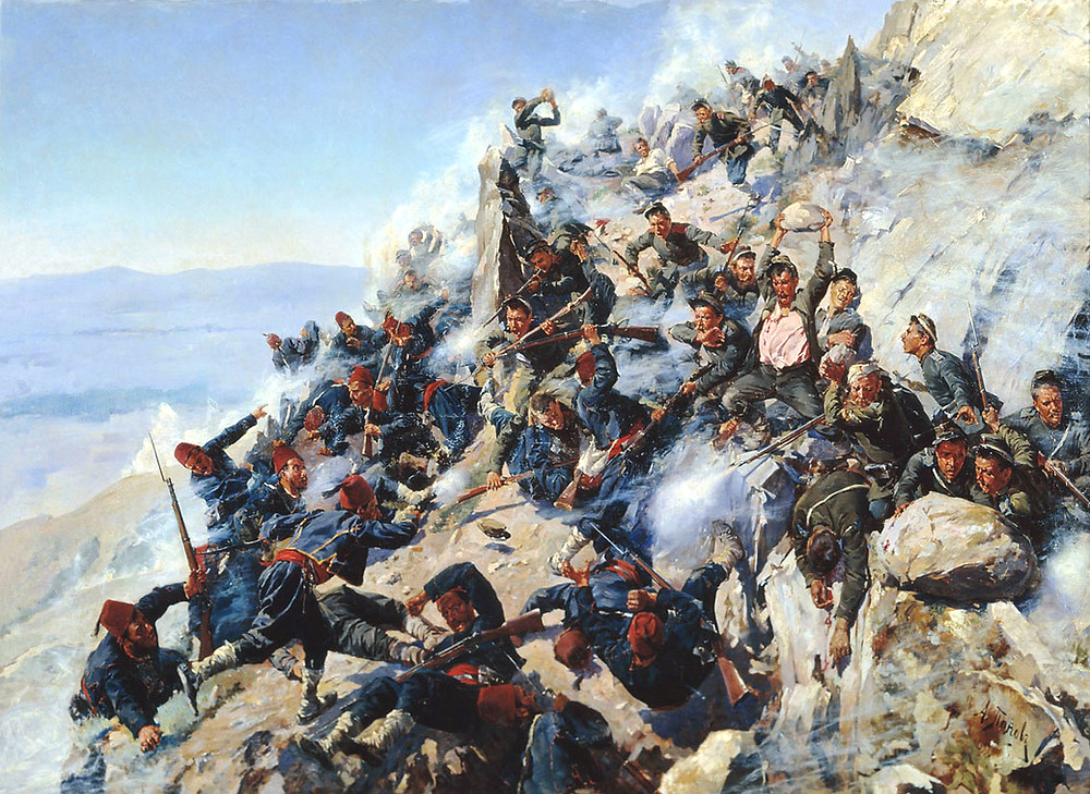 A painting of the brutal fighting at the Shipka pass