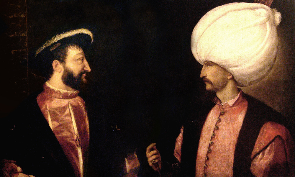 A painting depicting French King Francis I meeting Sultan Suleiman