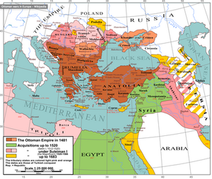 A map showing Ottoman expansion against the Safavids