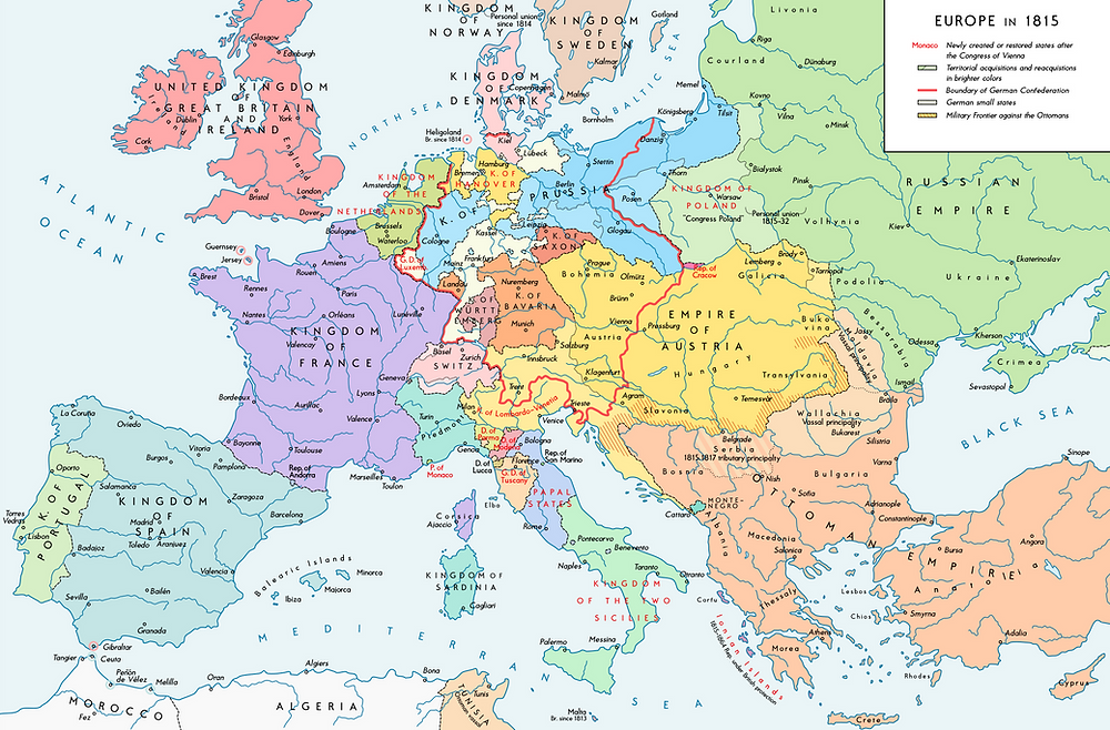 The map of Europe in 1815 following the end of the Napoleonic Wars