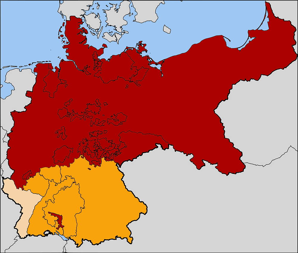 The newly formed North German Confederation (in red)