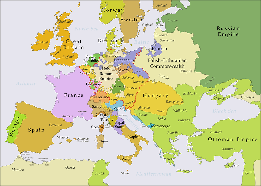 Europe from 1748-1768, roughly during the longest Ottoman-European peaceful period