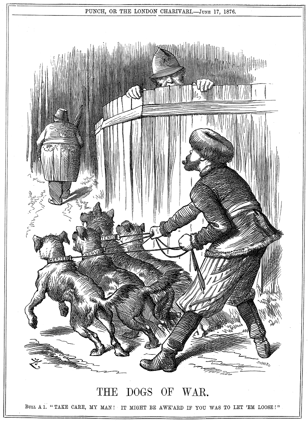 """A British political cartoon showing Russia about to release the Balkan """"dogs of war"""""""
