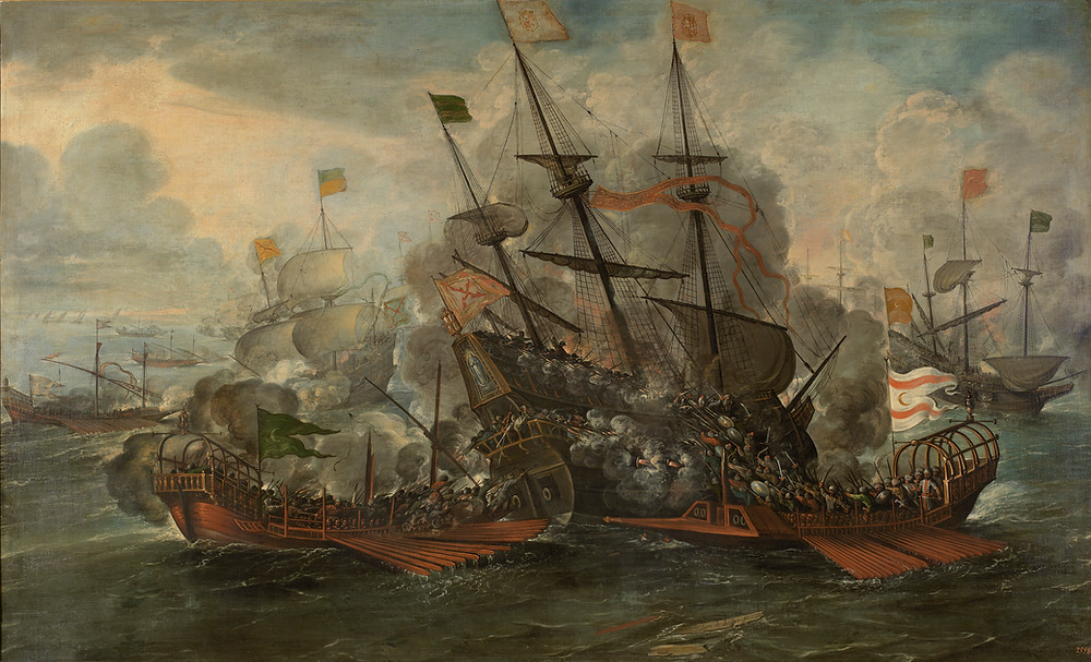 A battle between Ottoman and Spanish ships
