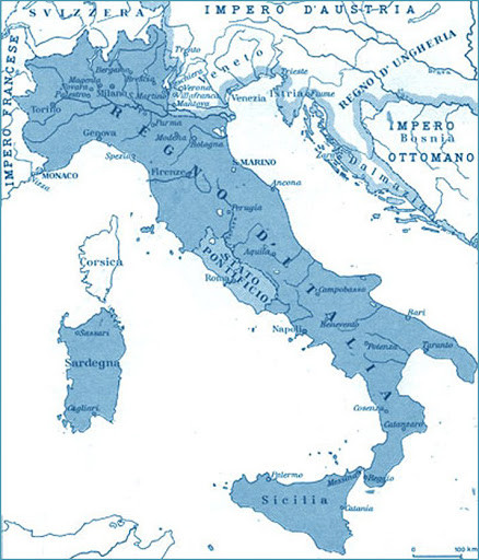 The territory of unified Italy