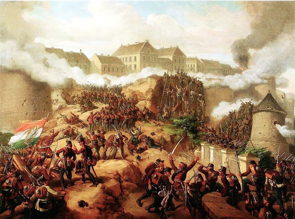 Hungarian revolutionaries fighting in Pest