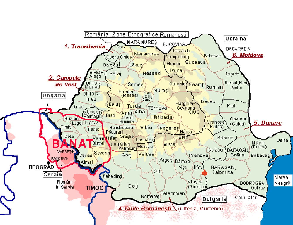 A map showing where the Banat region is today