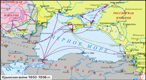 A map (in Russian) of the Crimean War