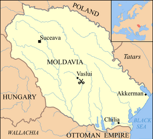A map of Moldavia showing the site of the Battle of Vaslui