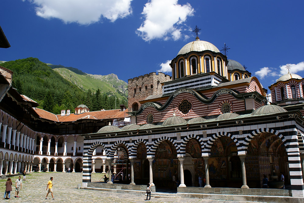 The Rila Monastery, showing portions reconstructed after the 1833 fire
