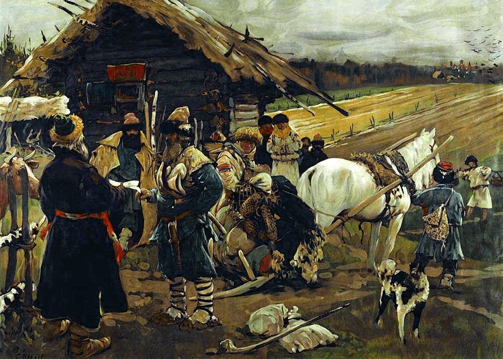 A Peasant Leaving His Landlord on Yuriev Day, painting by Sergei V. Ivanov