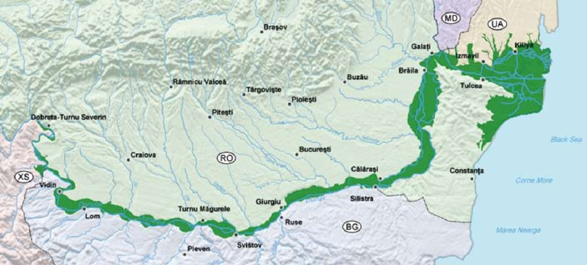 A map of the lower Danube (showing the floodplain but it also shows the towns we talk about)