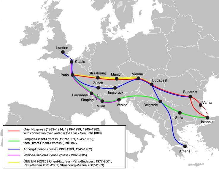 A map showing the Orient Express, including the route proposed through Bulgaria