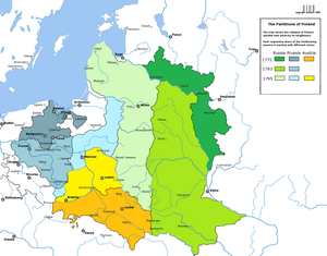 A map showing all three partitions of Poland