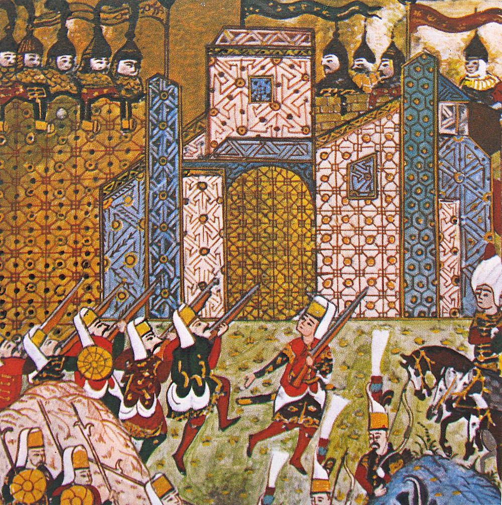 Janissaries attacking the Knights of St. John at the Siege of Rhodes