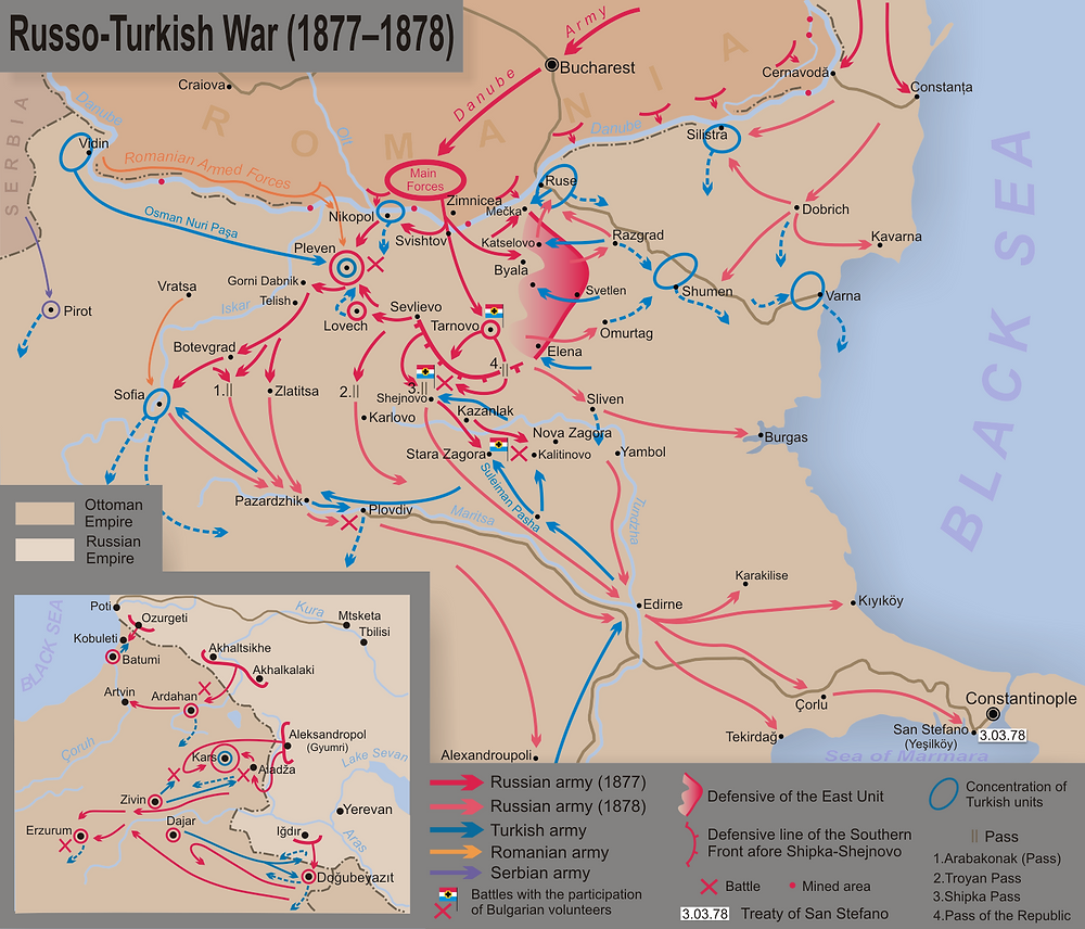 A map of the Balkan theater of the Russo-Turkish War