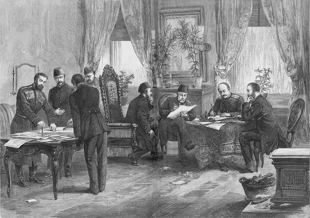 The signing of the Treaty of San Stefano