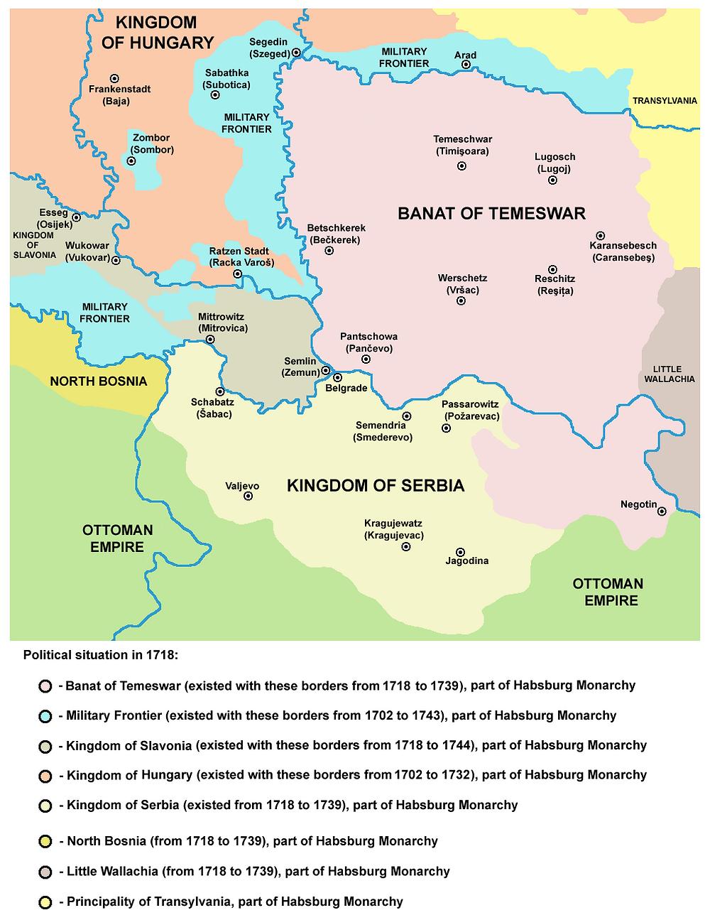 New map following the Treaty of Passarowitz