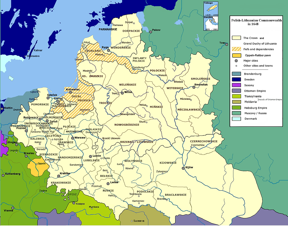 "The borders of the Polish Lithuanian Commonwealth before ""The Deluge"""