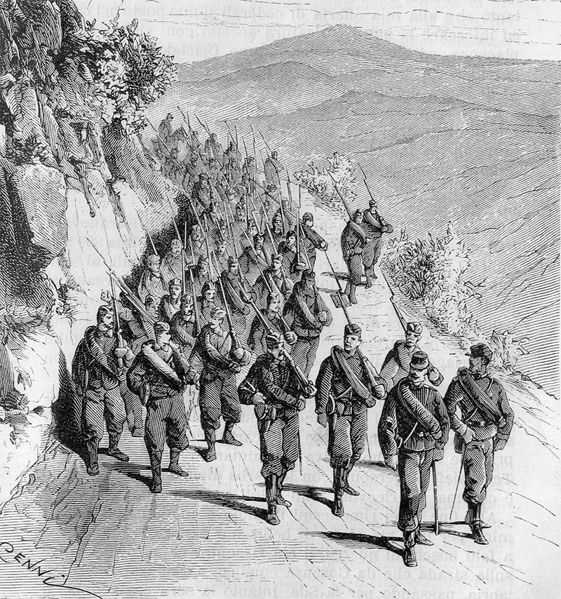 Serbian soldiers on the march