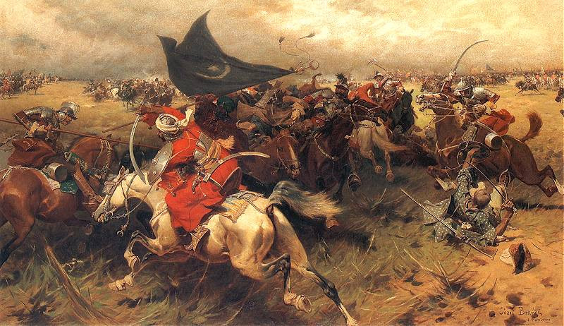 A depiction of a battle between Polish and Ottoman cavalry