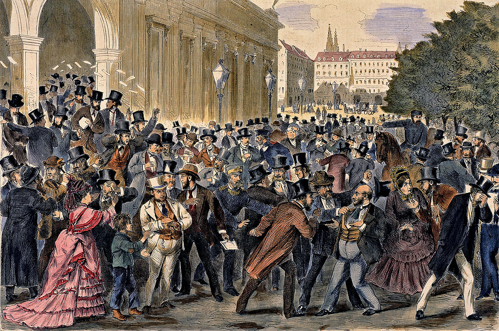 Panic at the Vienna stock exchange as markets crashed in the Panic of 1873