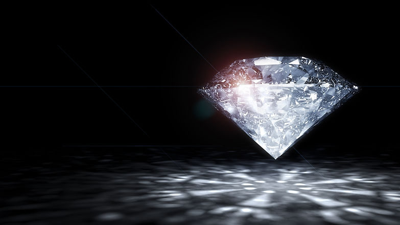 Clear diamond on a black background