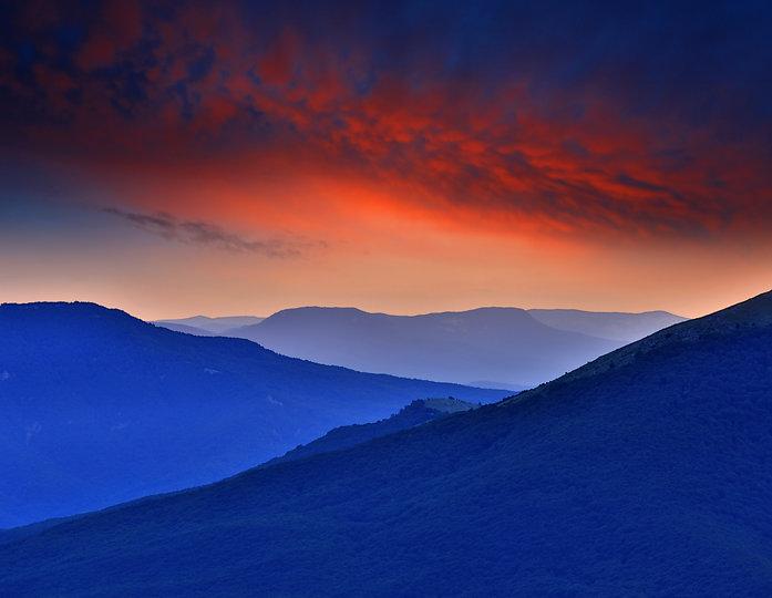 broad vista over purple mountains
