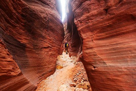Walking through a red canyon