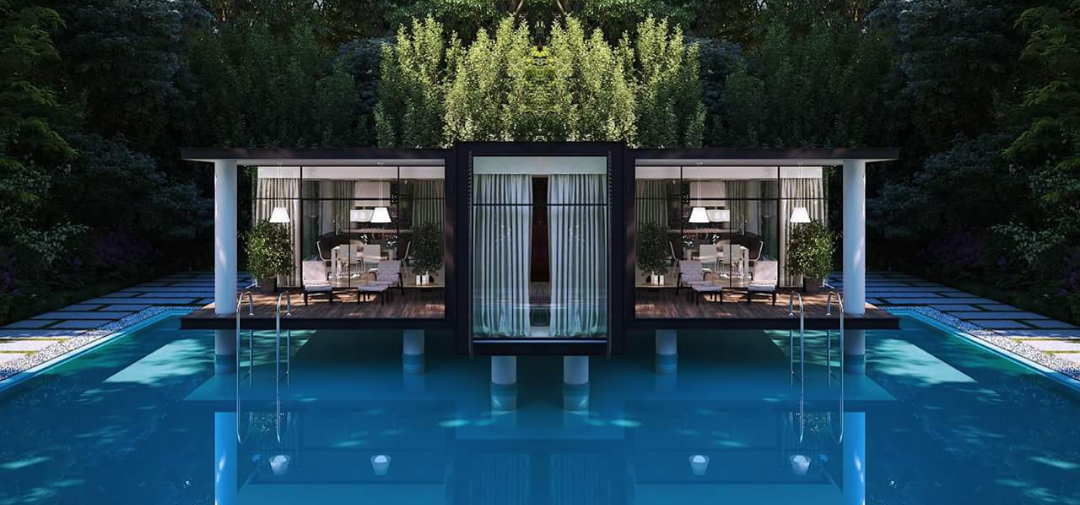 FLOATING POOL PREFAB CONTAINER HOMES (10
