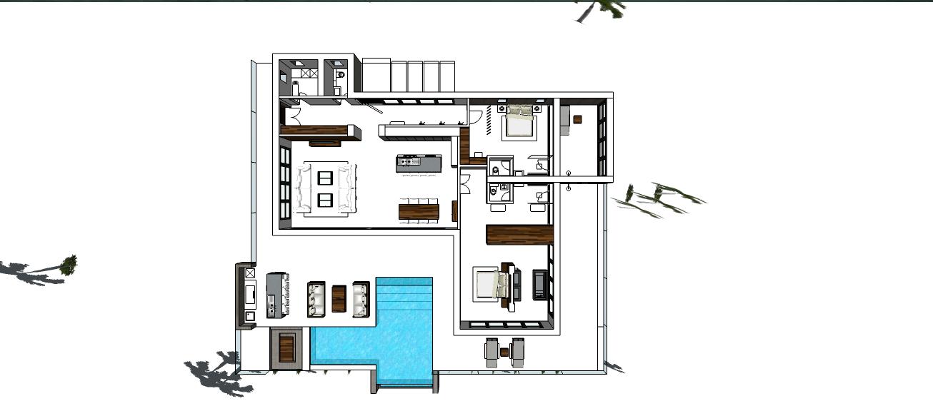 MODERN TROPICAL 1 FLOOR 2 BEDROOM DESIGN