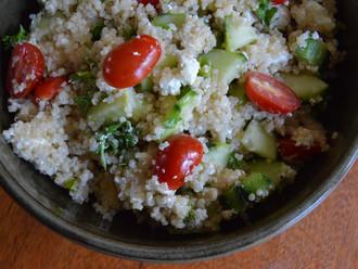 Cucumber Quinoa Goat Cheese Salad