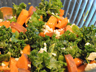 Fall Sweet Potato, Kale and Feta Side Salad
