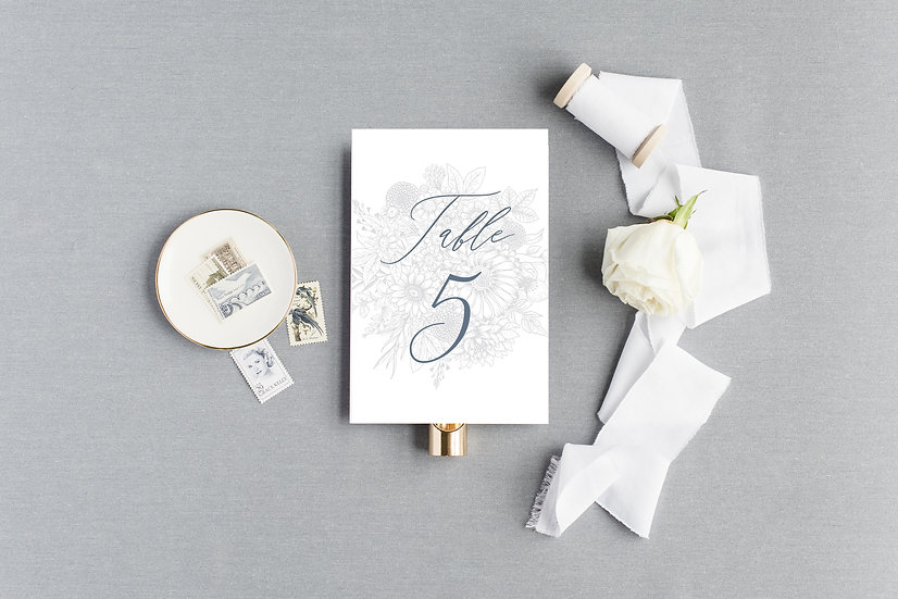 Gray Hand drawn Sketched Floral Table Numbers