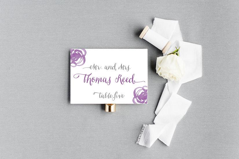 Purple Watercolor Floral Escort Cards Place Cards
