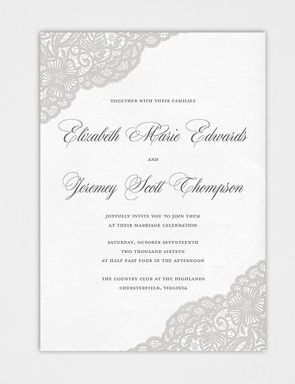 Lace Wedding Invitation, Elegant Wedding Invitation, Vintage Wedding Invitation, Classic Wedding Invitation