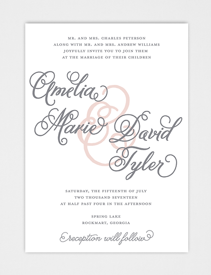 Calligraphy Wedding Invitation, Modern Wedding Invitation, Classic Wedding Invitation, Elegant Wedding Invitation