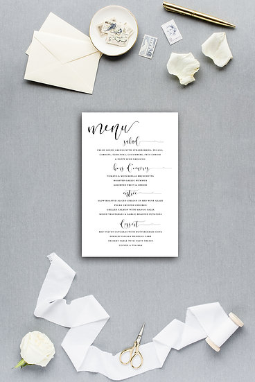 Simple Modern Calligraphy Script Dinner Menu Reception Menu Wedding Menu