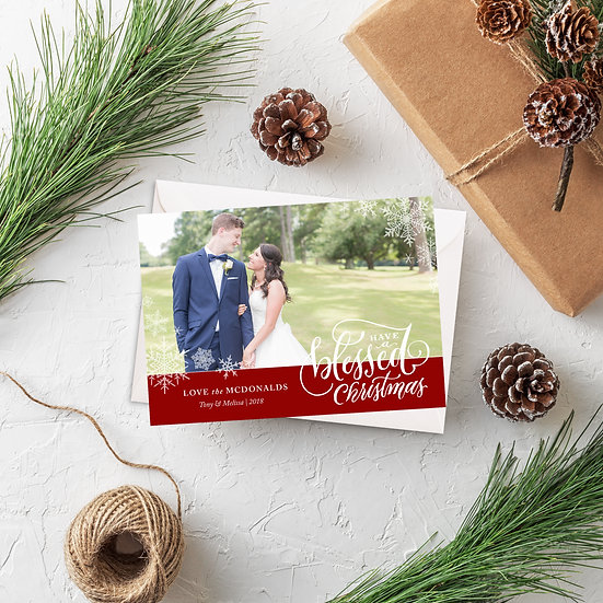 Blessed Christmas Photo Holiday Card