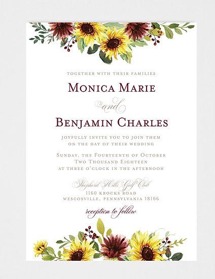 Sunflower Wedding Invitation, Fall Wedding Invitation, Yellow Burgundy Wedding Invitation, Floral Wedding Invitation