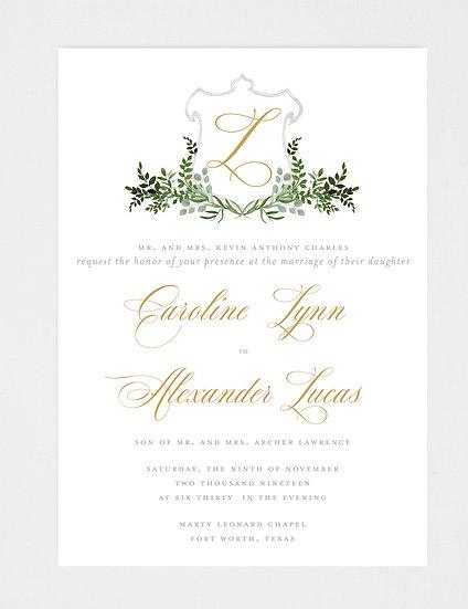 Gold and Greenery Wedding Invitation, Wedding Crest, Wedding Greenery Crest Wedding Invitation