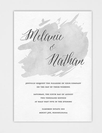 Watercolor Wedding Invitation, Gray Wedding Invitation, Gray Watercolor Wedding Invitation
